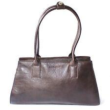 HIDESIGN Shoulder Handbag Brown Leather 2 Handle Zip Close Inner Pockets Medium