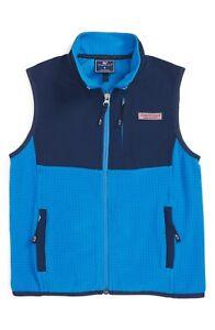 NWT Vineyard Vines Grid Fleece Vest Full Zip Hull Blue $78.00  S L XL C2