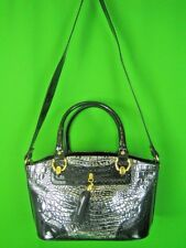 MARINO ORLANDI ITALY Black Croc Embossed Patent Leather NEW Shoulder Tote
