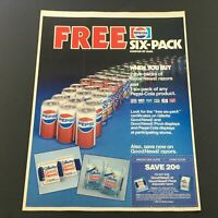 VTG Retro 1985 Pepsi-Cola Six-Pack Coupon by Mail & Gillette Razors Ad Coupon