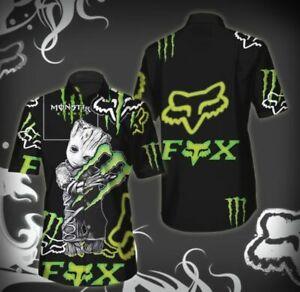 New-Fox Racing-Summer-Hawaiian 3D Sleeve Button-Up Shirt-Gift