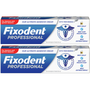 2 x Fixodent Professional Ultimate Adhesive Cream, Denture/Partial Wearers, 40g