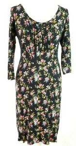 Fat Face Black and Floral Comfy Stretch Jersey Dress Button up Bodice Size UK12