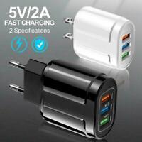 3 Ports USB Charger 3 Pin US Mains Wall Plug Adapter Tablet Socket UK Fo L7J2
