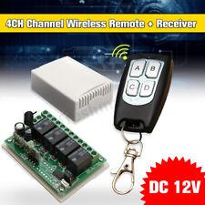 DC 12V 4 CH Channel 200M Wireless RF Remote Control Switch Transmitter Receiver