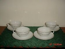 """8-PC KAYSONS """"GOLDEN FANTASY"""" COFFEE CUPS & SAUCERS/WHT-SILVER/FREE SHIP!"""