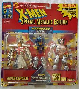 X-MEN SILVER SAMURAI v ROBOT WOLVERINE (ALBERT) SPECIAL METALLIC EDITION KB TOYS