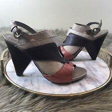 Klub Nico Sz 8 M Orange Coral Brown Silver Ankle Buckle Strap Block Heel Sandals