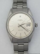 Vintage Rolex Oysterdate 6694 1960s Steel Mens Silver Dial Riveted Band