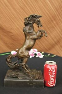 Signed Original Majestic Horse Rears on his Legs Bronze Sculpture Marble Statue