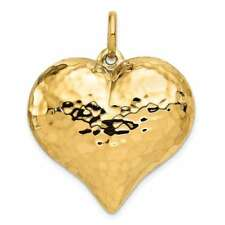 14K Yellow Gold Hollow Polished Hammered Large Puffed Heart Charm