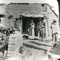 Vtg Keystone Magic Lantern Slide Photo Mexican Home Of Peon Adobe Hut