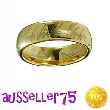 18k gold plated stainless steel engraved lord of the rings band hobbit 6mm aust