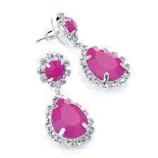 Crystal Butterfly Drop/Dangle Oval Costume Earrings