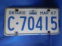 ONTARIO LICENSE PLATE 1967 MARCH C 70415 VINTAGE CROWN CANADA  CAR SHOP SIGN