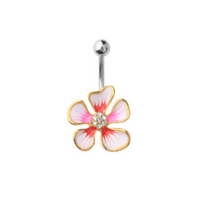"""14 GA 3/8"""" Red and Pink Gold IP Hibiscus CZ Flower Belly Button Navel Ring B629"""
