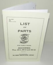 Singer 20 Sewing Machine Parts Manual for 20-1, 20-2, 20-10, Reproduction