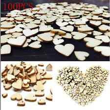 100X DIY Charm Rustic Wood Wooden Love Heart Wedding Table Scatter Decor Crafts