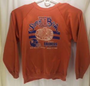 Vintage 1988 Denver Broncos Super Bowl XXII  Trench Crewneck Sweater NFL XL