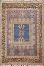 Geometric Antique Look Authentic Oushak Turkish Rug Wool Hand-knotted 2x2 Square