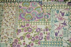 SPECIAL BUY -KIMONO FROM HOFFMAN -FLORALS IN PURPLE AND TAN WITH CRANES