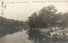 1925 rppc RIVERSIDE IL ~ CHILVERS' BOAT HOUSE Des Plaines River COOK Co.ILLINOIS