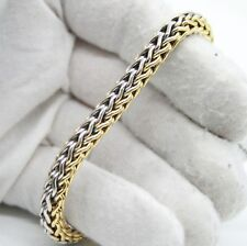 "7Mm Round Wheat Chain Bracelet 7.5"" Italy 18K Yellow Gold & White Gold Two Tone"