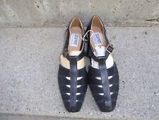 Esprit Footwear Womens Black Leather Flat Strappy Sandals 9.5
