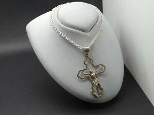 Neue Silber .925 Zopfkette 50 cm Anhänger großes Kreuz Jesus