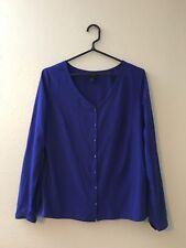 Womens Worthington Blue Button Down Career Blouse Top Long Sleeve Medium