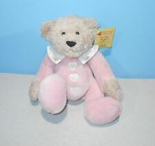 "12"" DAKIN Baby Hugs Pink Cancer Applause #17563 Embroidered Heart Buttons Plush"