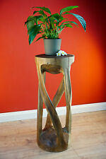 Side Table Flower Stand Wood Acacia Flower Stand 29 7/8in Stool Columns