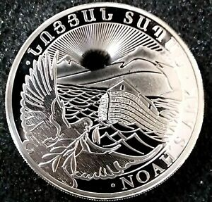 "1 oz Silver Armenian ""Noah's Ark"" Coin- Geiger Edelmetalle - New ! Gem Brilliant"