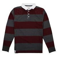 Epona - Fairtrade - Mens - Rugby Shirt - Stripey - Berry/Grey - Size XS,S,M,L,XL