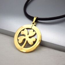 Gold Four Leaf Clover Celtic Lucky Charm Pendant Braided Brown Leather Necklace
