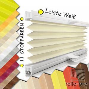 PLISSEE einfache Montage Faltrollo nach Maß Faltstore Stoff MESSA Profil Weiß