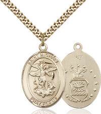 14K Gold Filled St Michael Air Force Military Soldier Catholic Medal Necklace