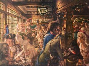 "Virginia Dan (1922-2014) ""Yankees Tavern 1776"" Lithograph Hand Signed US Artist"