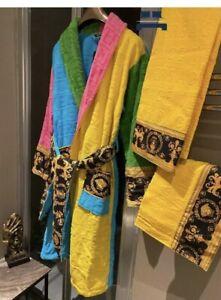 Versace Multicolored Baroque Bath Robe with complimentary bathroom towel set