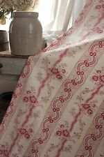 Fabric French Antique 1900 pink & red floral ribbon 18th c design curtain panel