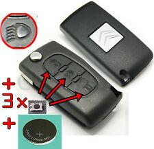 COQUE PLIP TELECOMMANDE clé Citroen C3 C4 C5 PICASSO 0523 Phare FEUX+PILE+SWITCH