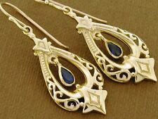 E096- REAL 9ct 9K Solid Gold Natural Sapphire Earrings Vintage Chandelier design