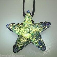Lampwork Dichroic Color Glass Hawaiian Textured Starfish Pendant Adjustable #5