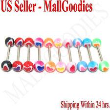 "W050 Acrylic Tongue Rings Bars Barbells Heart Shape Pattern 5/8"" LOT of 10"