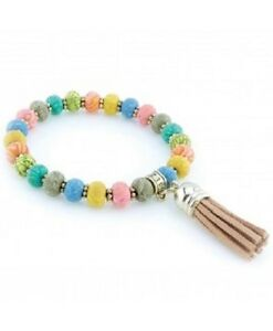 NEW JILZARA Handmade Clay 6mm Beads GYSPY SOUL TASSEL Bracelet multi color