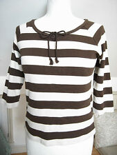 Striply Tshirt ivory x brown cotton 100% 3/4 ragran sleeve La Marine Francaise S