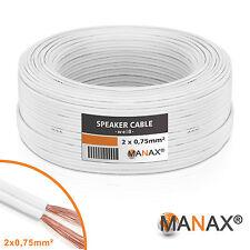 50m Zwillingslitze 2x 0,75mm² Lautsprecherkabel Boxenkabel weiß 2-adrig