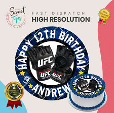 UFC ROUND EDIBLE BIRTHDAY CAKE TOPPER DECORATION PERSONALISED