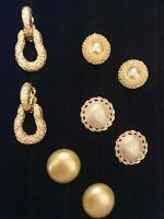 Lot of 4 Pairs of Vintage Clip-On & Screw-Back Earrings Bold Chunky Goldtone