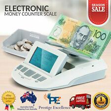 Money Counter Banknotes Coin Machine Scale Box Digital Cash Portable Australian